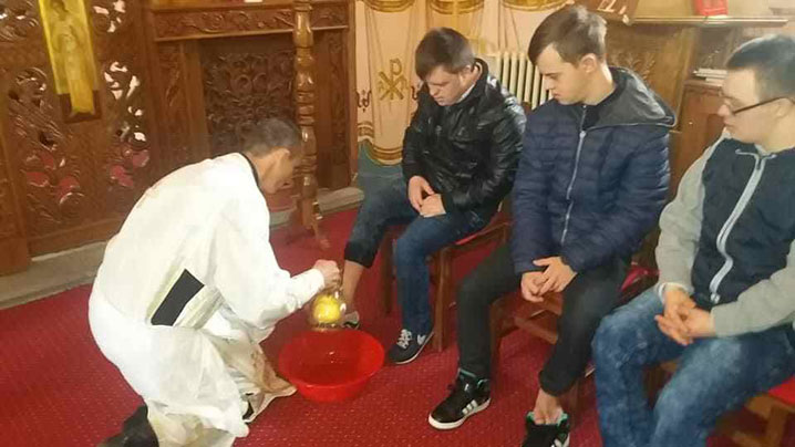 Ritualul spălării picioarelor la Capela Arhiereilor Blaj