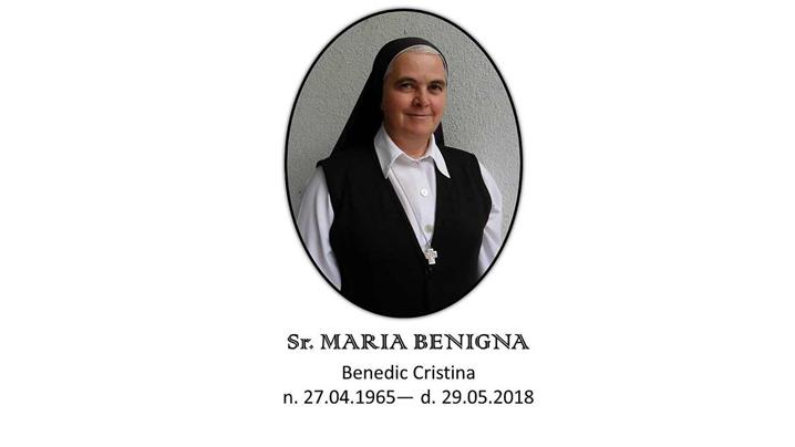 Sora Maria Benigna CMD s-a mutat în Patria Cerească