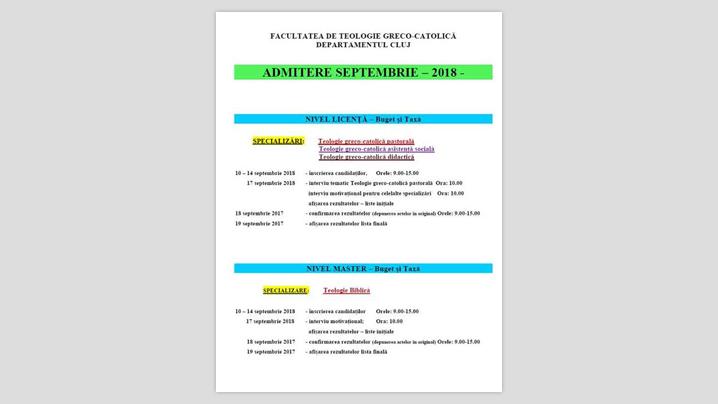 Înscrieri la licență și master la FTGC Cluj
