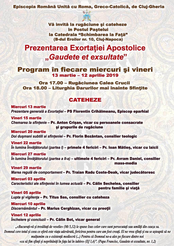 Cateheze despre sfințenie la Catedrala din Cluj în Postul Paștelui