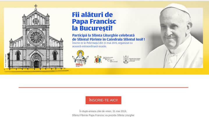 Înscrieri pentru Sfânta Liturghie cu Papa Francisc la Catedrala Sfântul Iosif