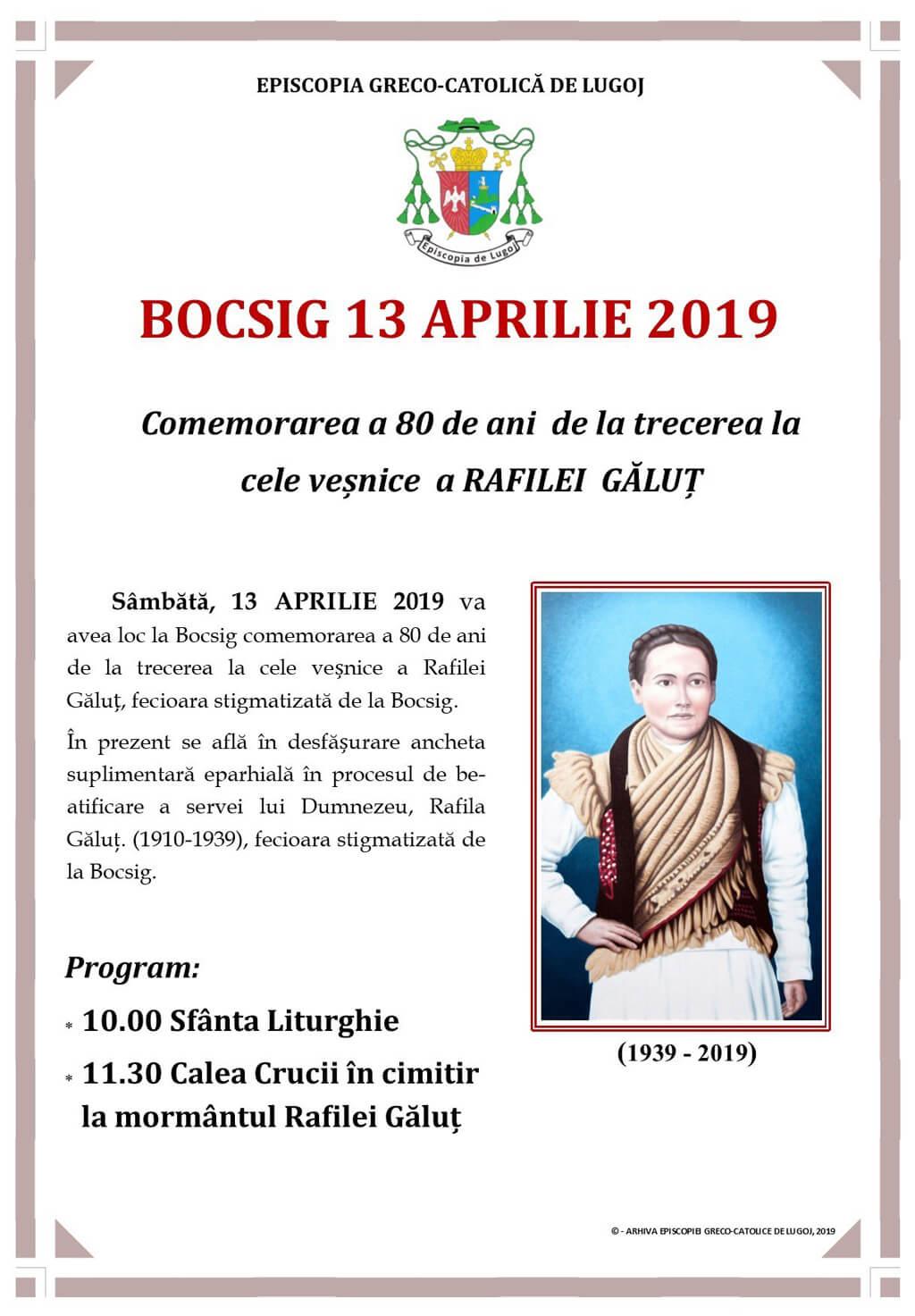 Comemorarea a 80 de ani de la trecerea la cele veșnice a Rafilei Găluț