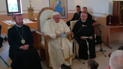 Discursul Sfântului Părinte în Biserica din cartierul Barbu Lăutaru, Blaj