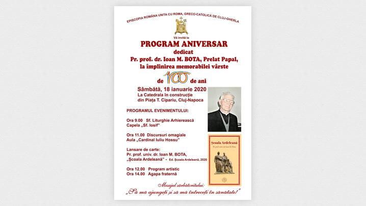 Anunț și invitație: Program aniversar dedicat pr. prof. univ. dr. Ioan M. Bota, la 100 de ani de viață