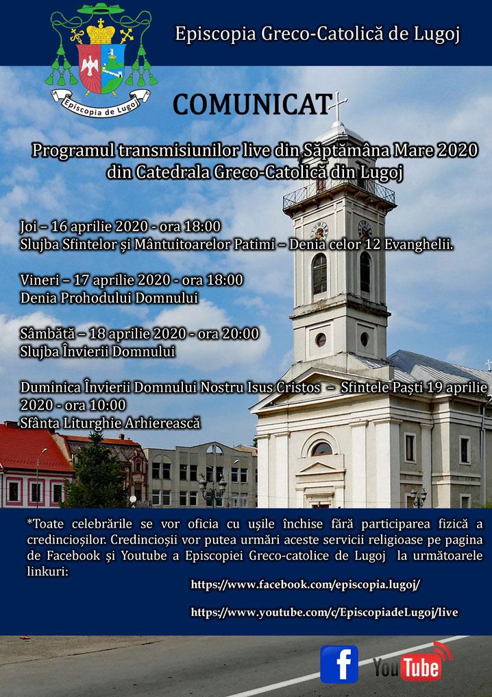 Programul transmisiunilor live din Săptămâna Mare 2020 din Catedrala Greco-Catolică din Lugoj